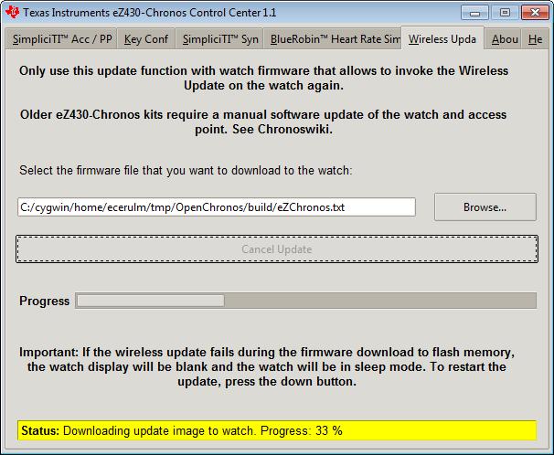 Для прошивки нужно скачать там же eZ430-Chronos Firmware По пользовавши